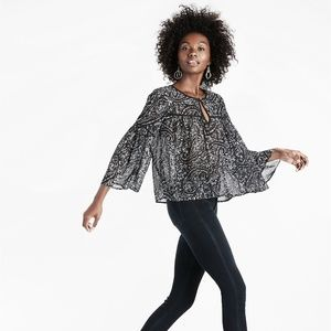 Lucky Brand Printed Bell Sleeve Top